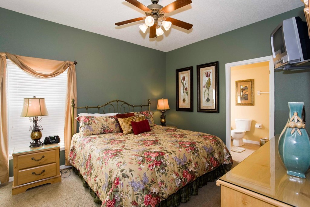 Lavish downstairs king master suite 4 with TV/DVD combo & ceiling fan