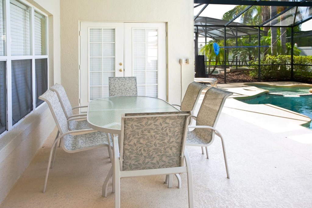 Enjoy time together on the covered lanai