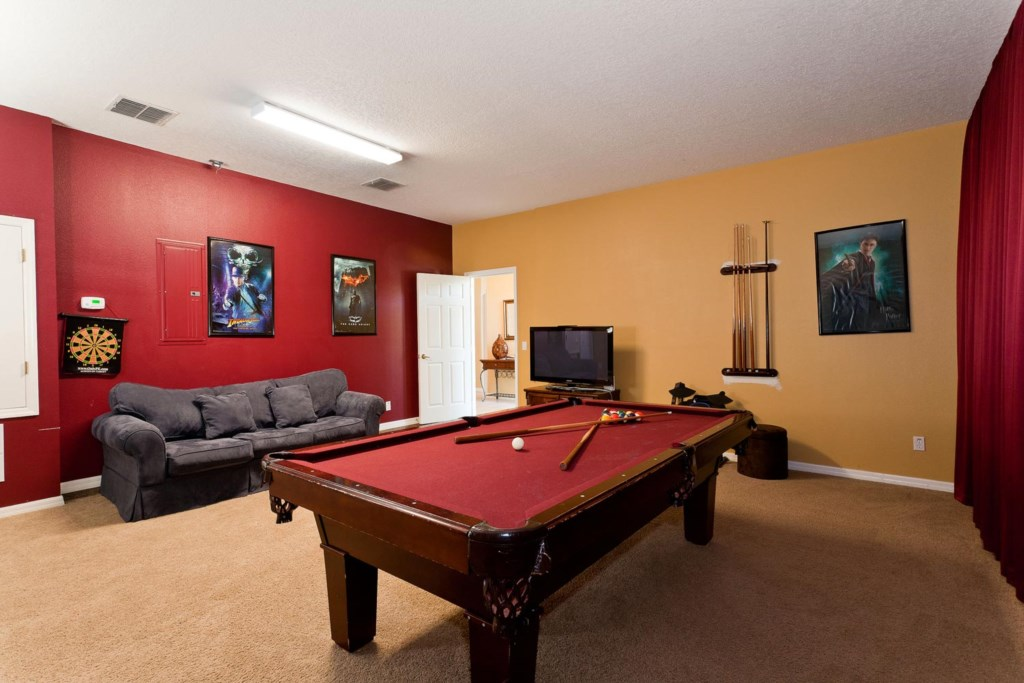 Air conditioned game room with pool table, Wii with Rock Band, PlayStation 4 & flat-screen TV