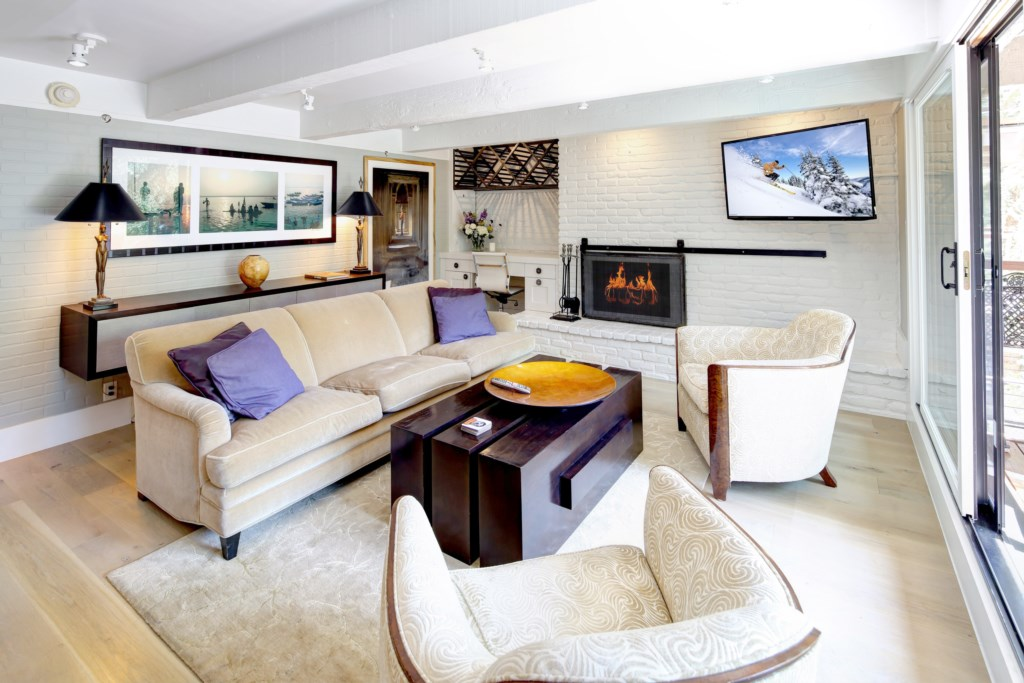 Living Room with Desk Area and Fireplace