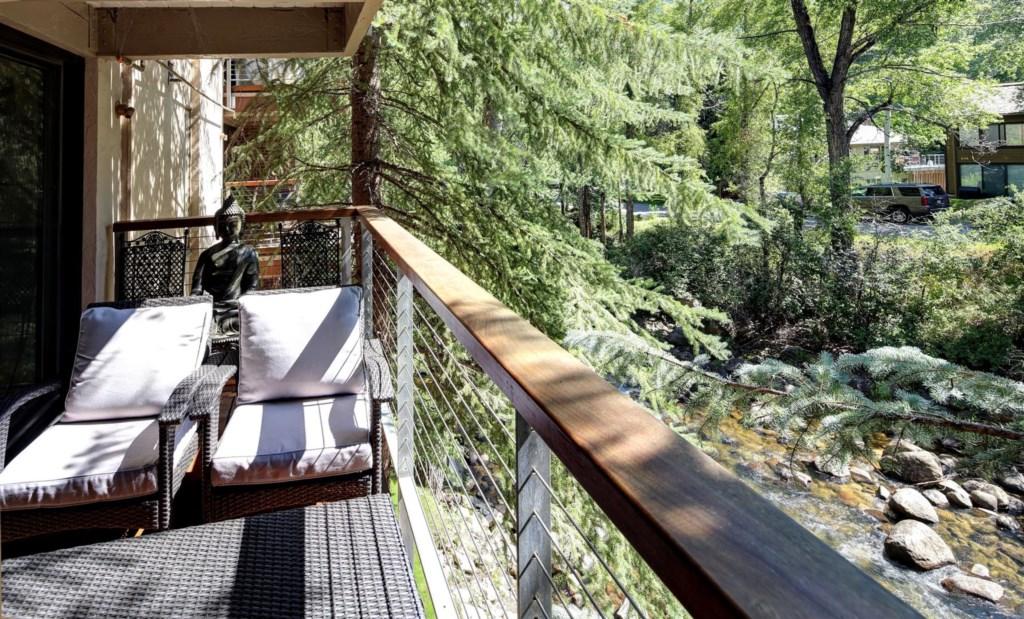 Deck overlooking Roaring Fork River