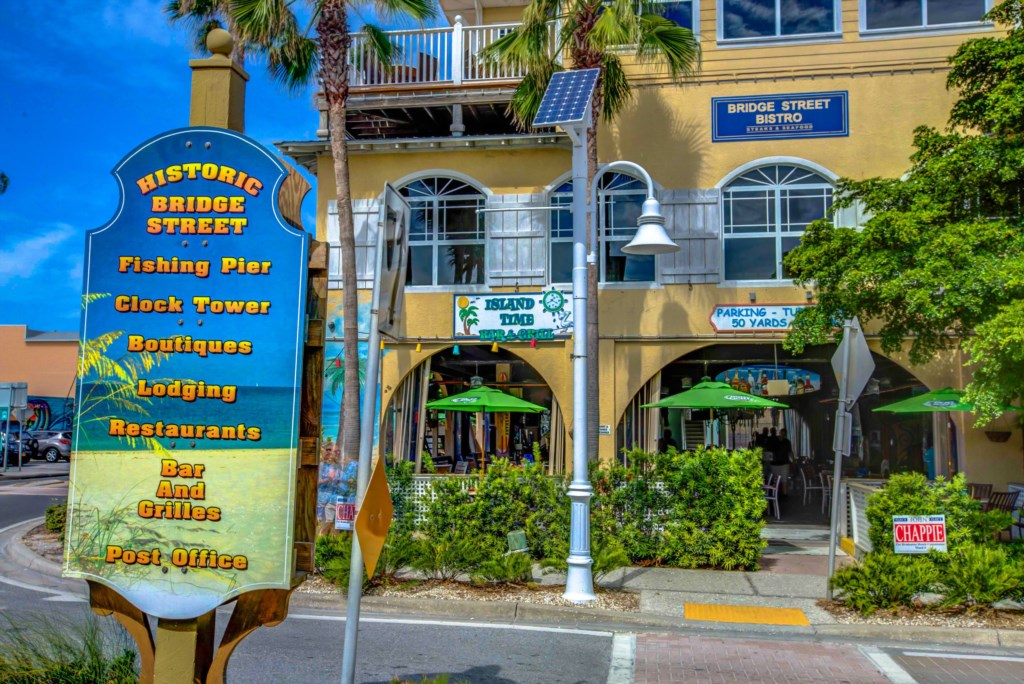 Island Time Restaurant a five minute walk from Beach Bay Breee