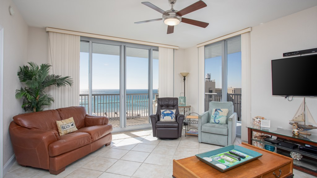 Open layout with plenty of ceiling to floor windows to enjoy the view.