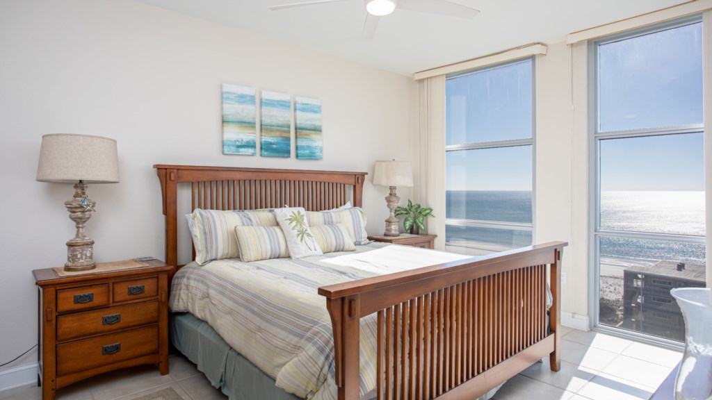 Master bedroom with King bed and great views!