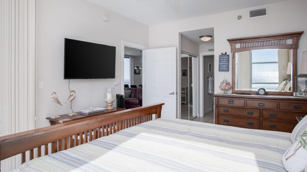 Flat screen tv located in Master bedroom