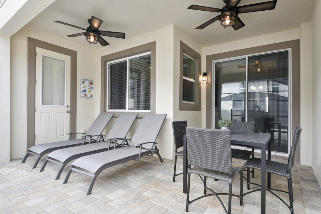 Patio off dining room - with 1/2 pool bath