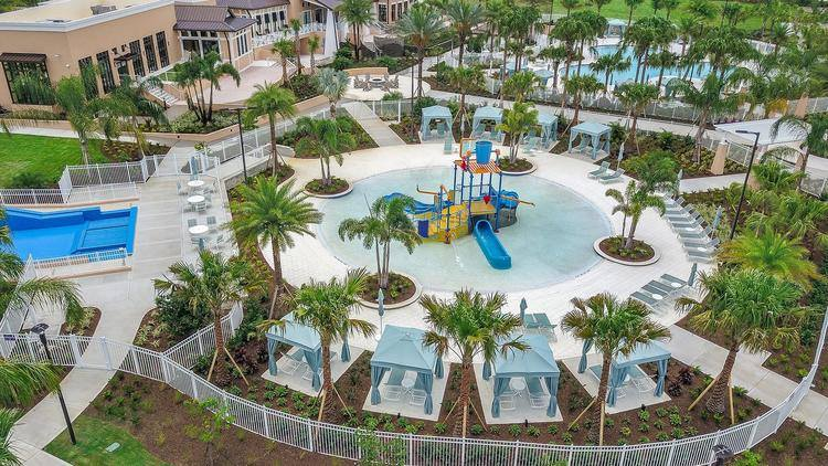 Aerial view children's splash pad
