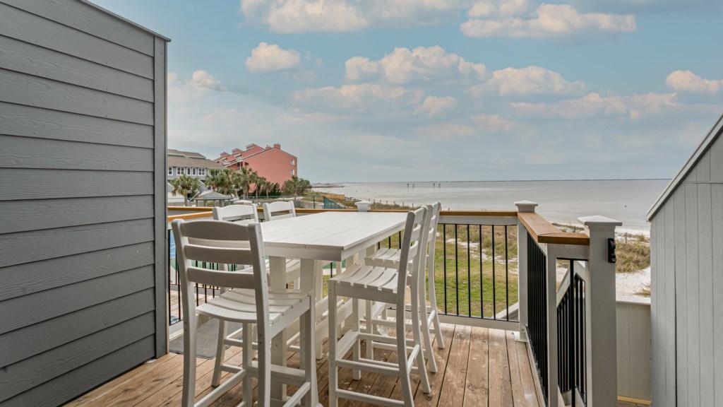 Back deck and balcony overlooking Pensacola Bay