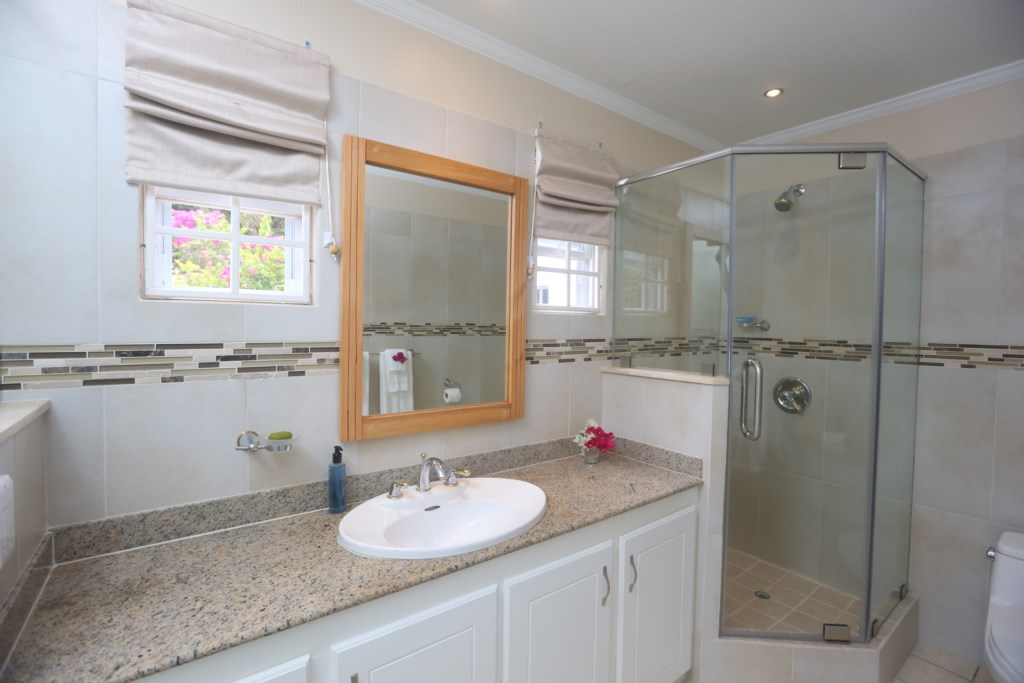 Second bathroom shower, there is a tub to the left.