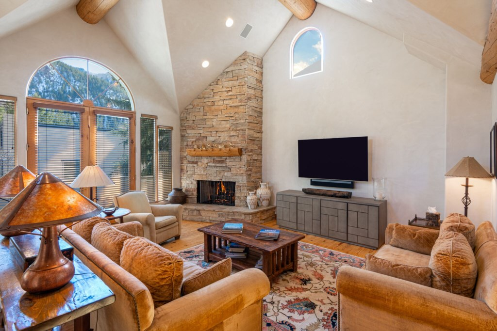 Great Room with Fireplace and Smart TV