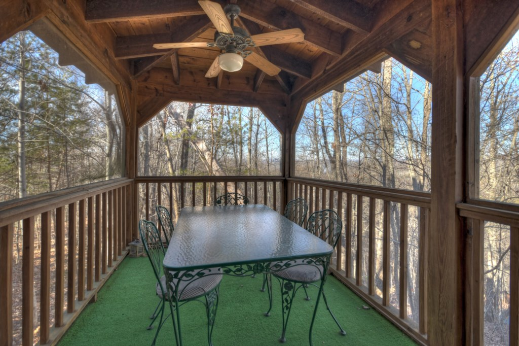 Enjoy dining out in your screened in porch at anytime of day or night