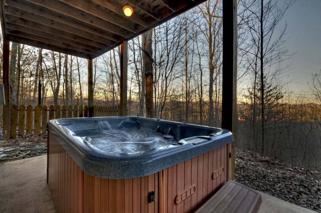 Relax in the hot tub at sunset