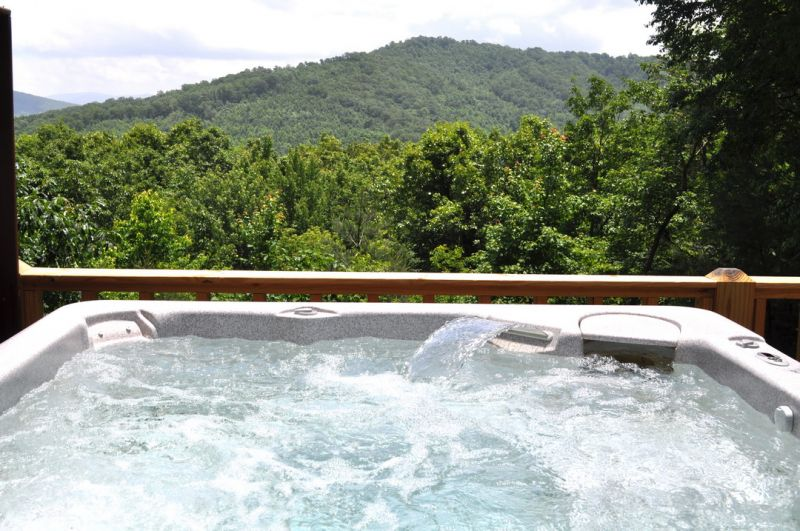 What do you find more inviting-- the steamy hot tub or that view