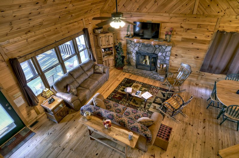 Bird`s eye view of Great Room from Loft Level