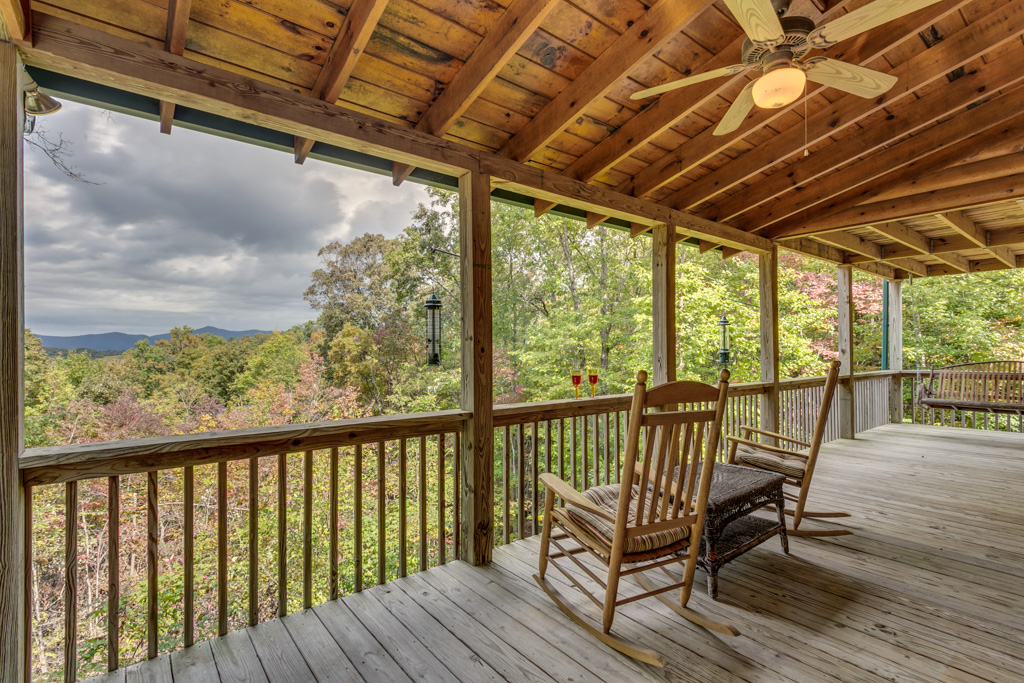 Spacious back porch at Treetops