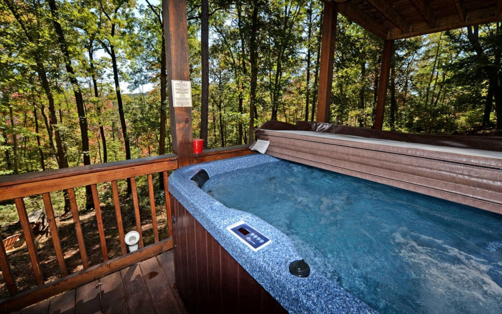 Soak in the bubbling hot tub on the terrace level deck