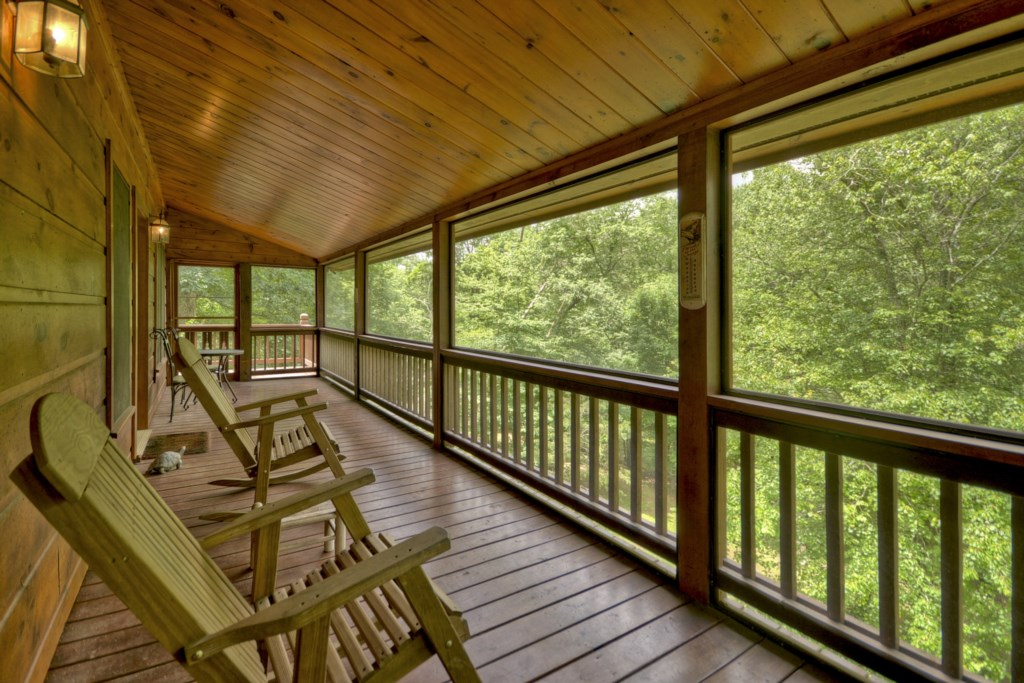 Screened in porch, perfect for grilling or early morning coffee