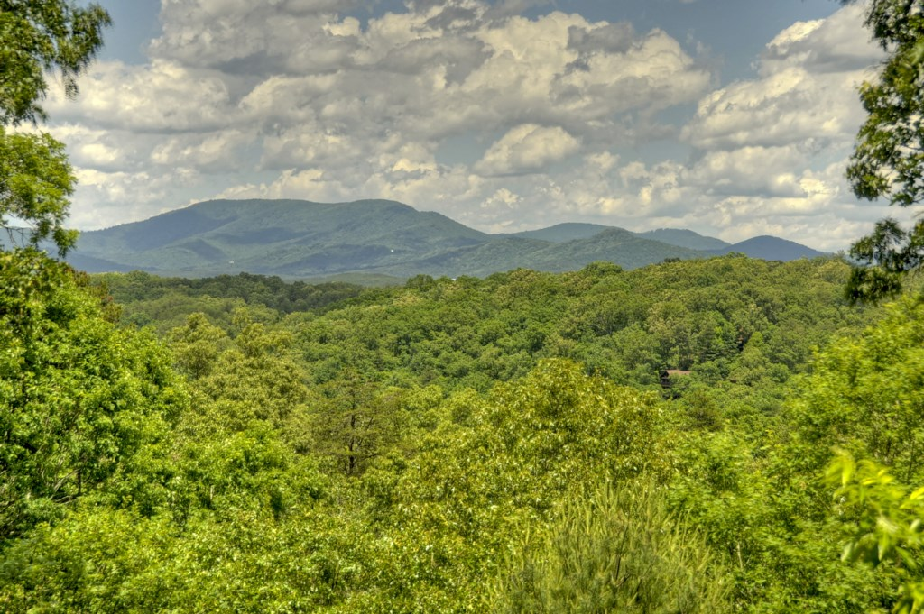 Beautiful tri-state mountain view from cabin back porch