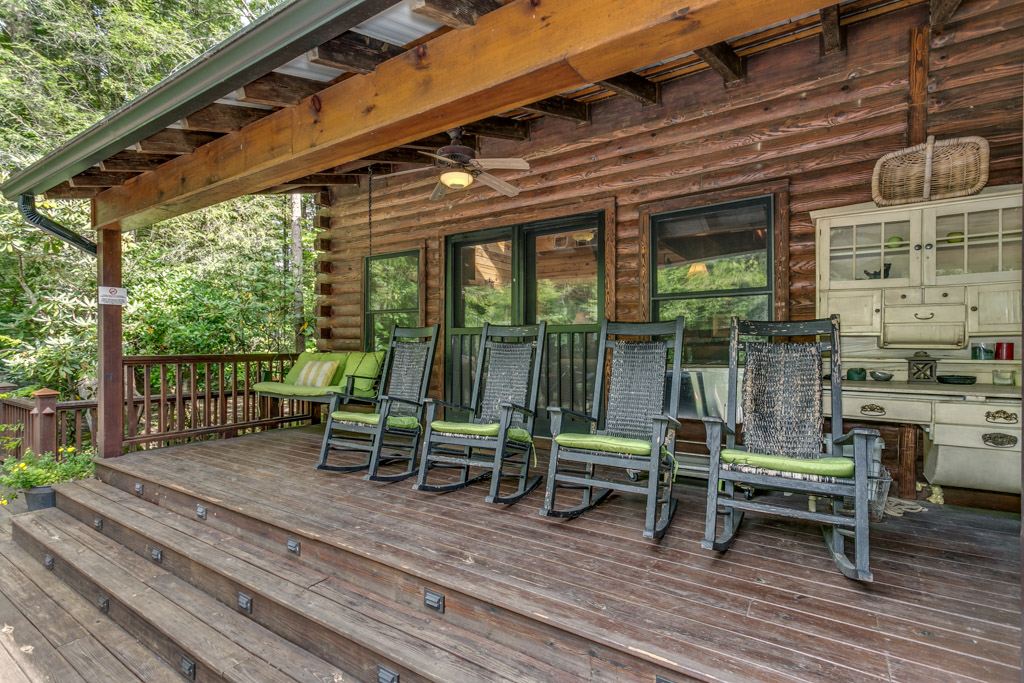 Plenty of seats on the back deck to take in the beautiful surroundings