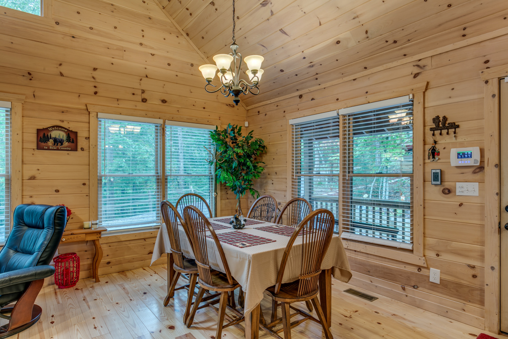 Dining table offers traditional seating for a family meal