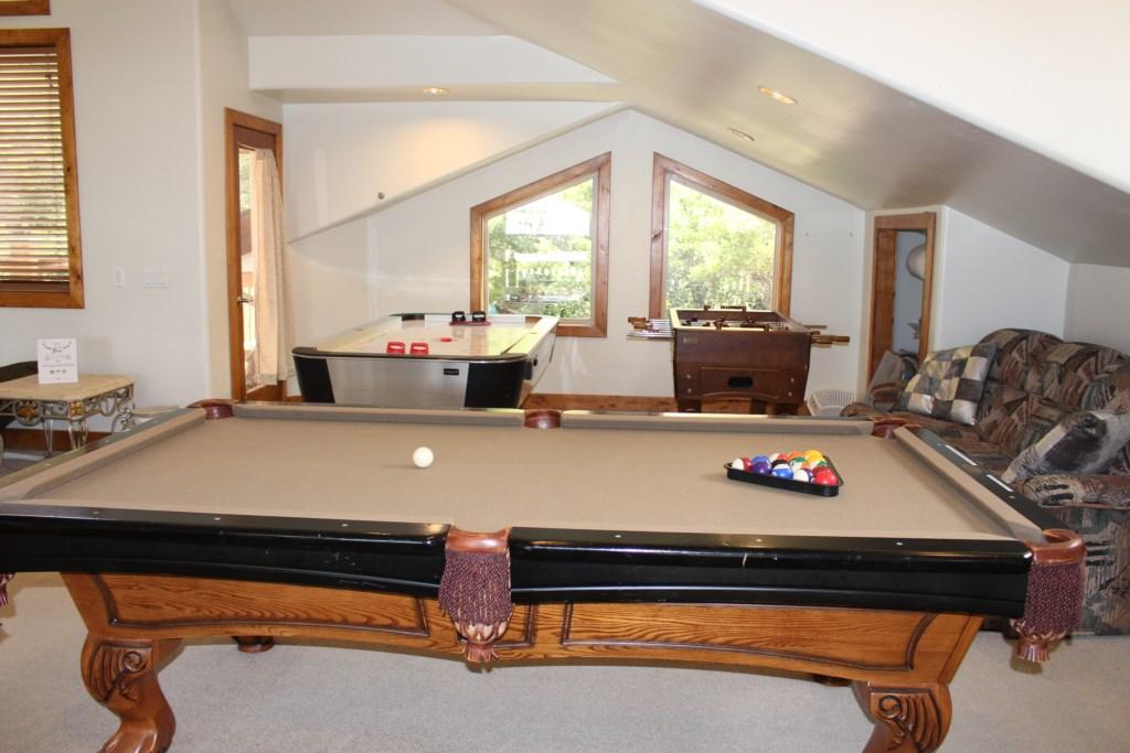 Loft- Upper Floor Pool Table, foosball, airhockey
