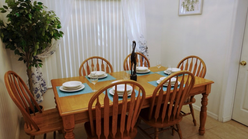 Dining room with plenty of space for the family.