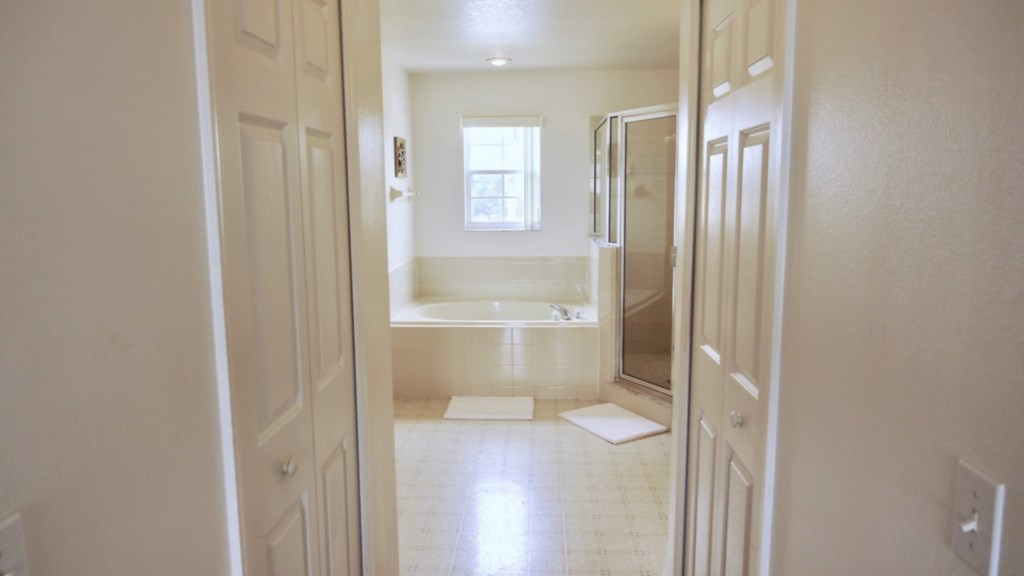 Large Master Bathroom with soaking tub and walk-in shower.
