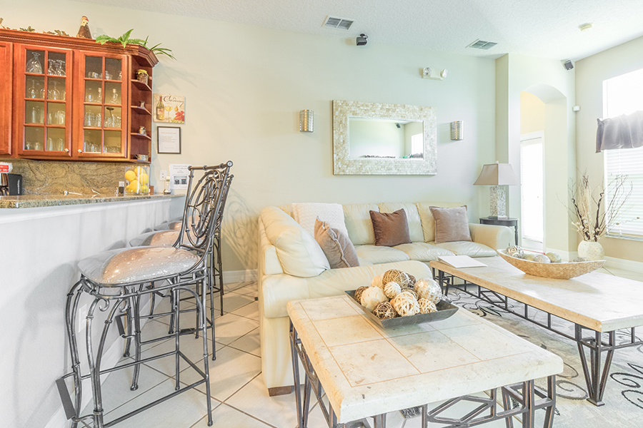Spacious gourmet kitchen with bar stool seating for 3