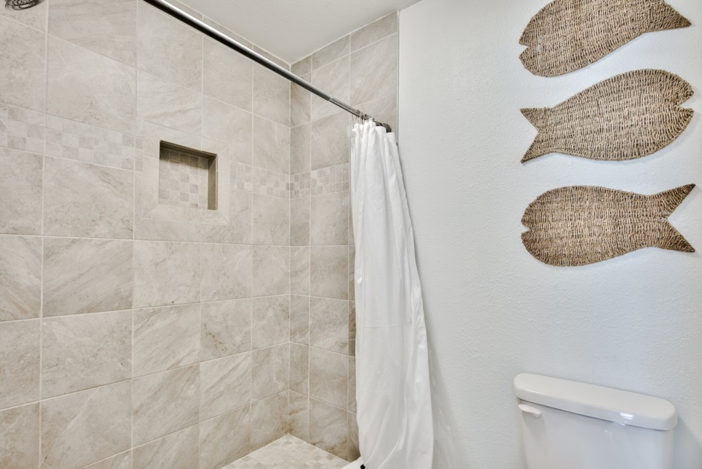 Fully tiled walk-in shower