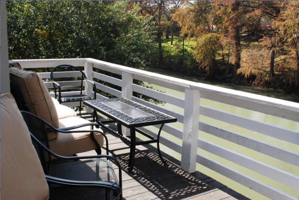 Deck overlooks the Guadalupe River