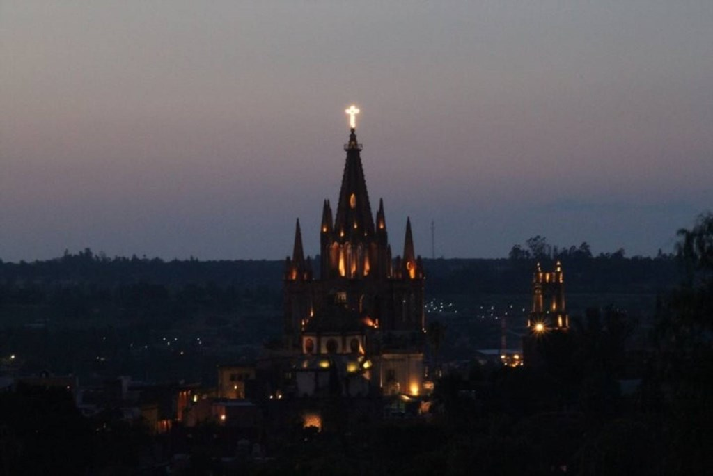 View of the Parroquia at night from our roof