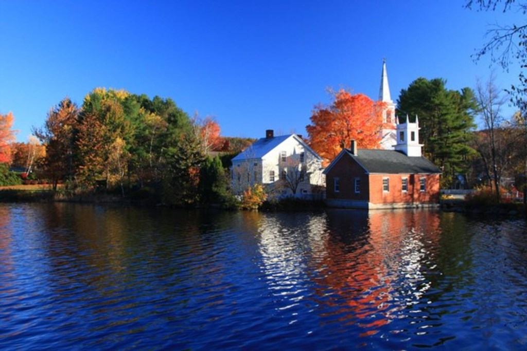 The Harrisville town library in autumn...