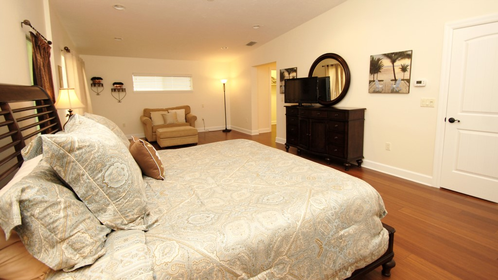Master bedroom and flat screen television