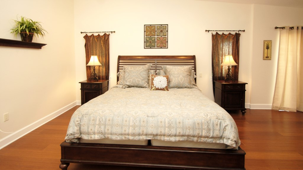 Master bedroom and king size bed