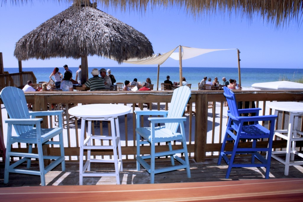 Dine on the Beach at the Tiki Hut just a few minutes walk from the Annna Maria Island Beach Palace