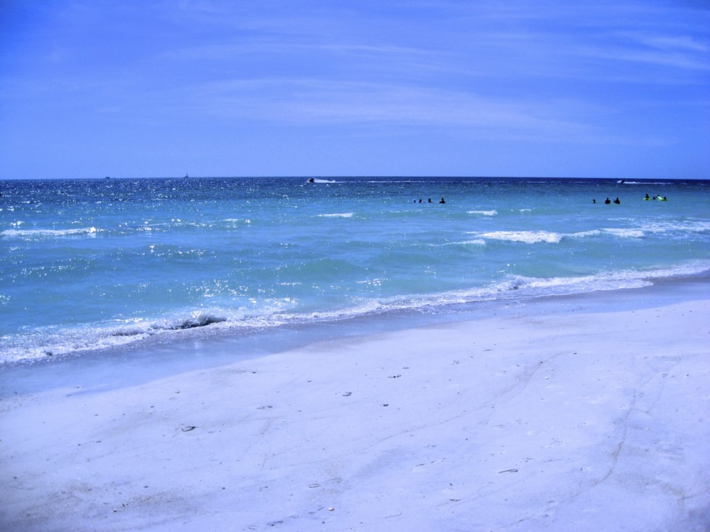 The beach and Gulf in front of the condo