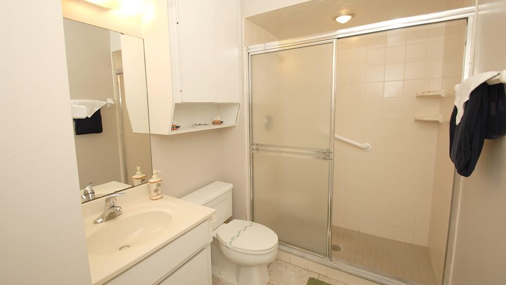 Full washroom with walk-in shower