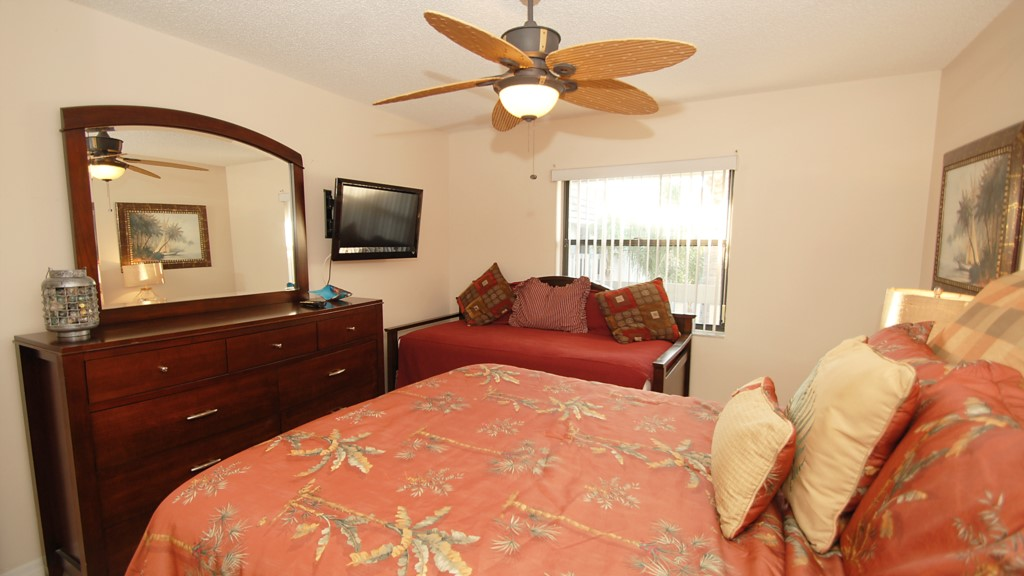 New bedroom suite with matching ceiling fan