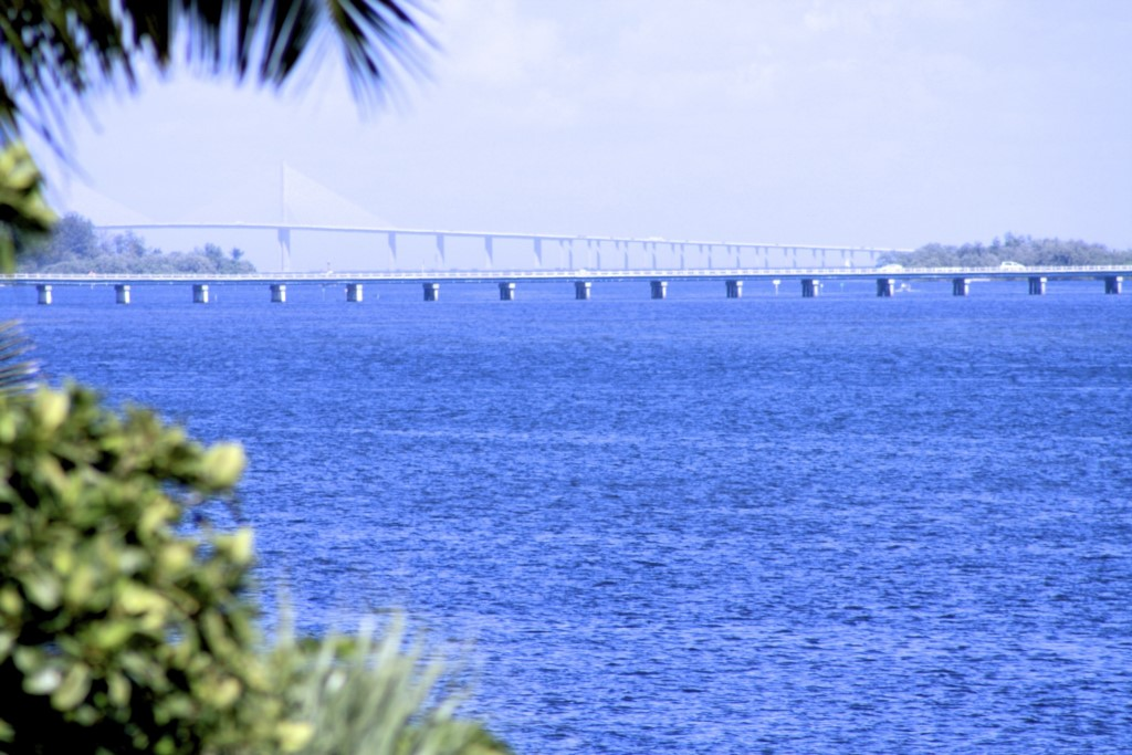 A view of the world famous sunshine bridge over Tampa Bay