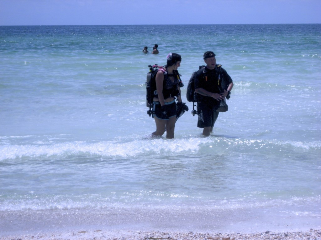 Watch the scuba divers come up from the Gulf