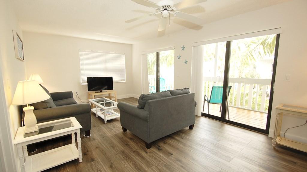Anna Maria Island Condo - Living Room - Private Balcony