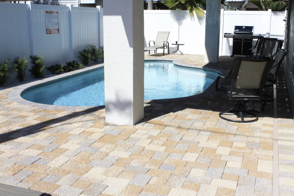 Heated pool and gas grill