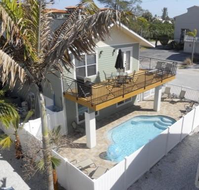 Balcony and heated pool