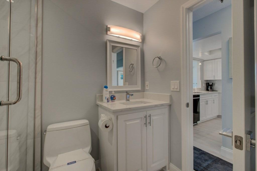 Completely Remodelled Guest Washroom-Walk-In Shower