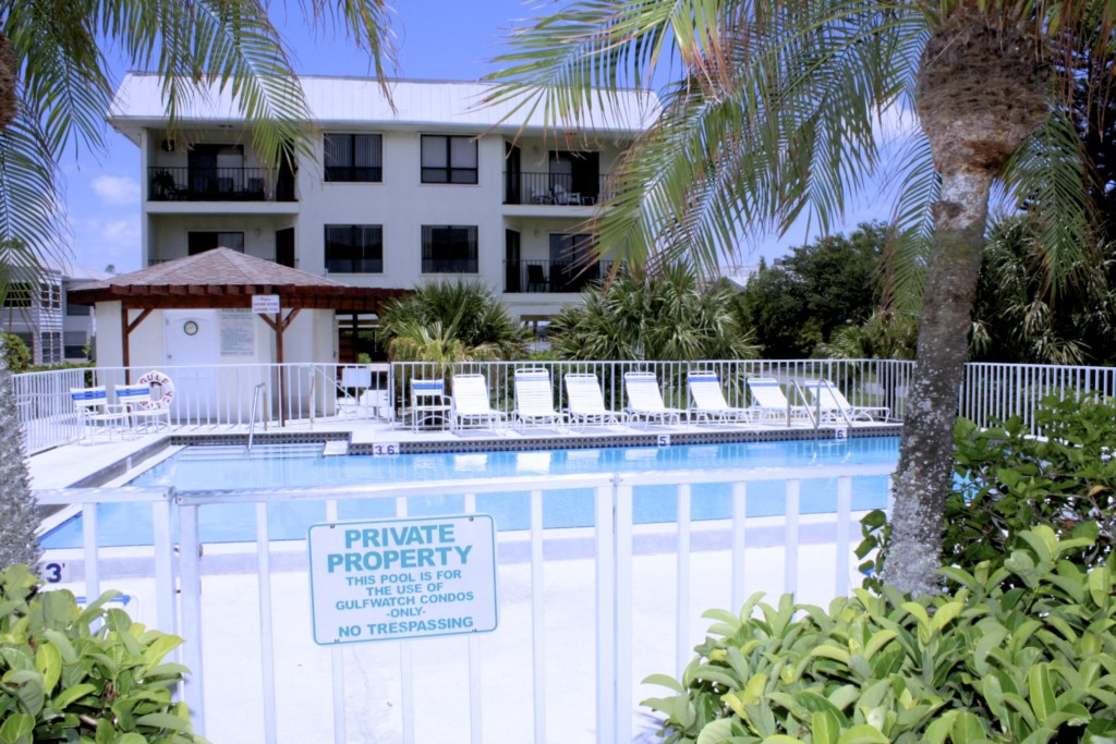 The heated pool and one of the largest pools on Anna Maria Island