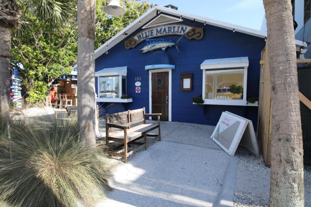 Blue Marlin Restaurant a five minute walk from Beach Bay Breee