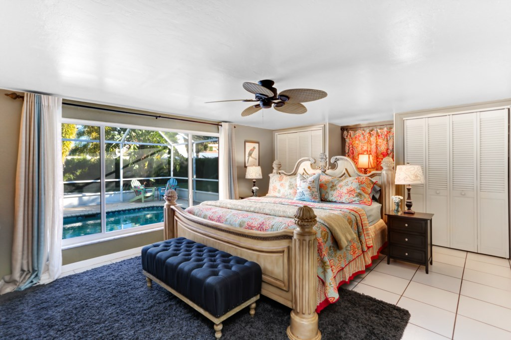 Cool Poolside Master Bedroom with en-suite