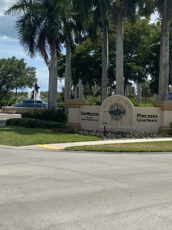 The Westin area at Tarpon Point is open to the public. Excellent waterfront dining options, and susn