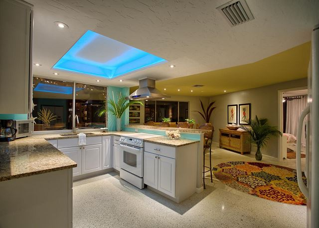 Kitchen with LED lighting feature