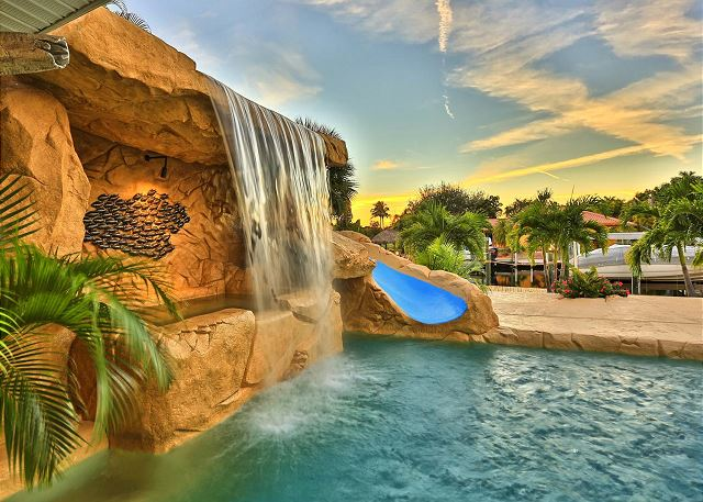 Waterfalls, hot tub, and water slide